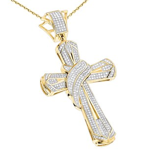 10k Gold Men's 1ct TDW Diamond Cross Necklace Pendant (H-I, SI1-SI2)