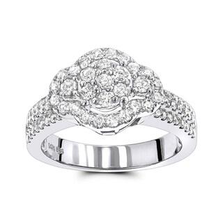 Luxurman 14k White Gold 1 1/4ct TDW Cluster Diamond Ring