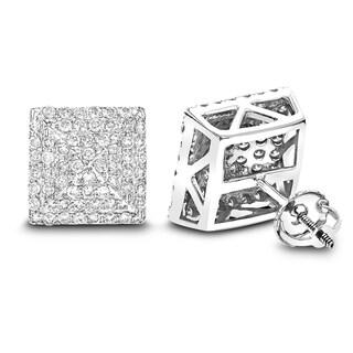 Luxurman 14k White Gold 1 1/3ct TDW Pave Diamond Stud Earrings