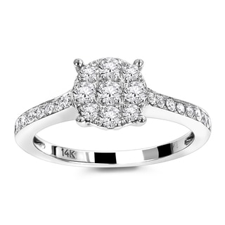 Luxurman 14k White Gold 1/2ct TDW Cluster Diamond Engagement Ring