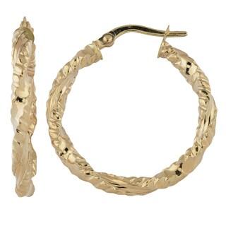 Fremada Italian 14k Yellow Gold 3x20-mm Diamond-cut Round Hoop Earrings