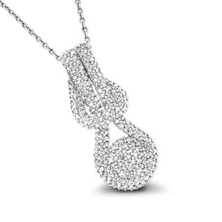 Luxurman 14k White Gold 3/5ct TDW Diamond Love Knot Pendant