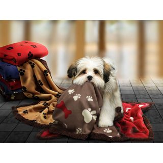 Paws and Bone Print Fleece Cat or Dog Throw Blanket