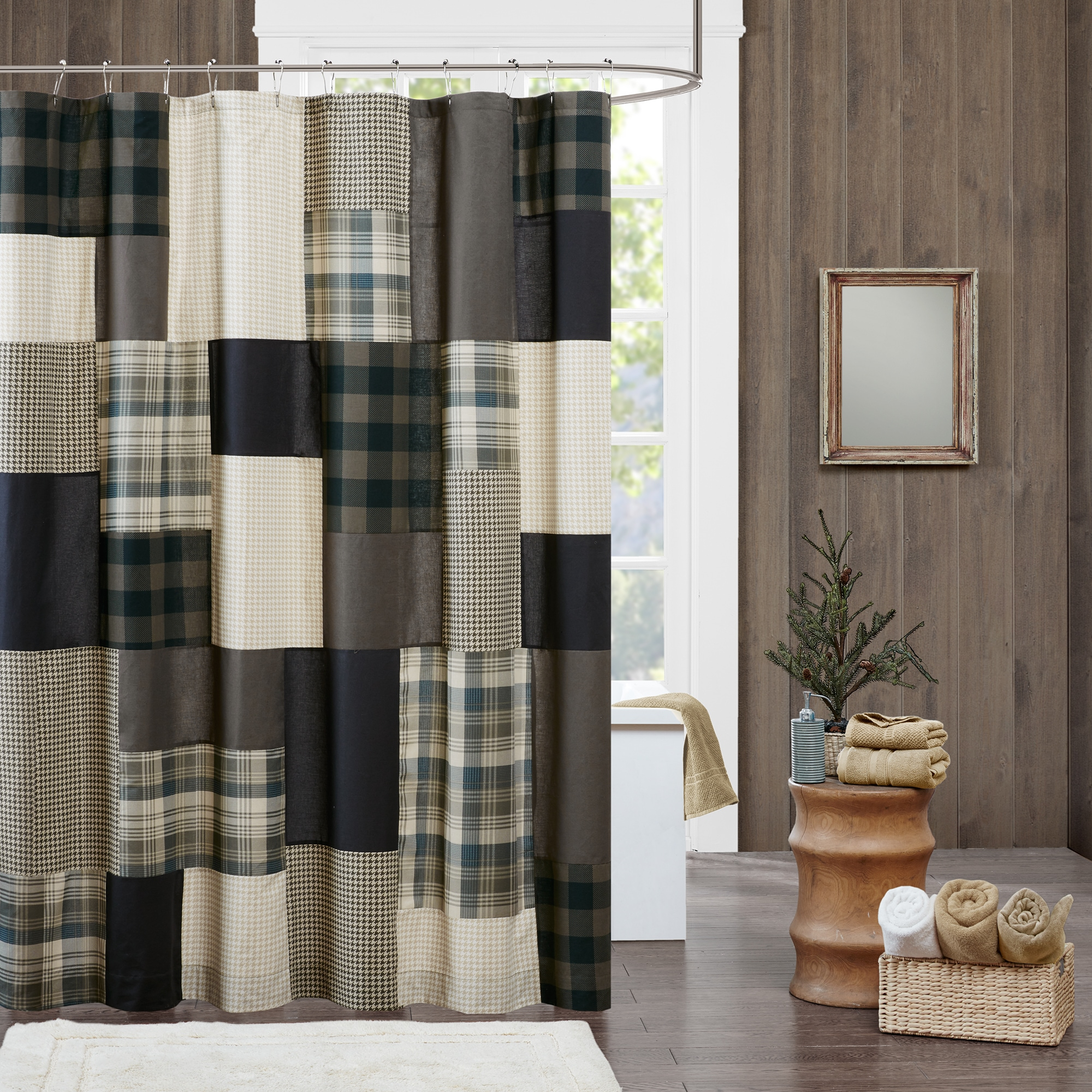 "Woolrich Winter Hills Tan Cotton Shower Curtain (72x72"" -..."