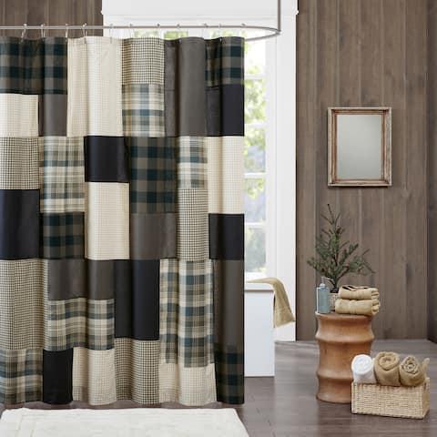 Woolrich Winter Hills Tan Cotton Shower Curtain
