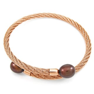 DaVonna Rose Stainless Steel 9 - 10mm Brown Long Shape Pearl Expandable Bangle Bracelet