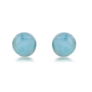 La Preciosa Sterling Silver Larimar Bead Stud Earrings