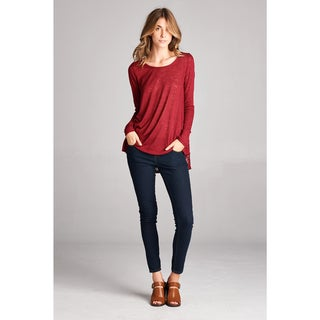 Orange Creek Women's Wine-colored Rayon-blended Top with Lace Detailing