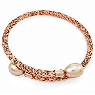 DaVonna Rose Stainless Steel 9-10mm Pink Long Shape Pearl Expandable Bangle Bracelet