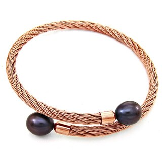 DaVonna Rose Stainless Steel 9-10mm Black Long Shape Pearl Expandable Bangle Bracelet