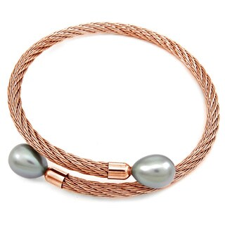 DaVonna Rose Stainless Steel 9-10mm Grey Long Shape Pearl Expandable Bangle Bracelet