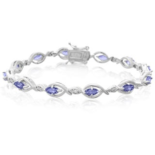2 5/8ct TDW Marquise Shape Tanzanite and Diamond Bracelet, 7 Inches
