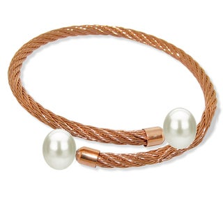 DaVonna Stainless Steel 9-10mm White Long Shape Pearl Expandable Bangle Bracelet