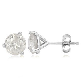 14k White Gold 3ct TDW Diamond Martini Stud Earrings (I-J, I1-I2 Clarity Enhanced)