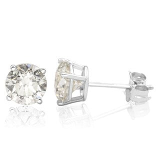 14k White Gold 2ct TDW Diamond Stud Screwback Earrings (H-I, I1-I2 Clarity Enhanced)
