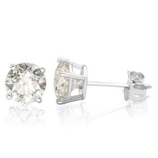 14k White Gold 3ct TDW Diamond Stud Screwback Earrings (I-J, I1-I2 Clarity Enhanced)