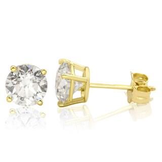14k Yellow Gold 3ct TDW Diamond Stud Screwback Earrings (I-J, I1-I2 Clarity Enhanced)