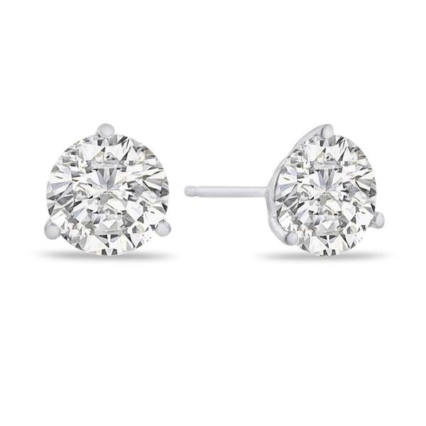 14k White Gold 2ct TDW Diamond Stud Earrings (I-J, I1-I2 Clarity ...
