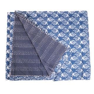 Vintage Kantha Indian Handmade Blue Leaf Throw Bedspread (India)
