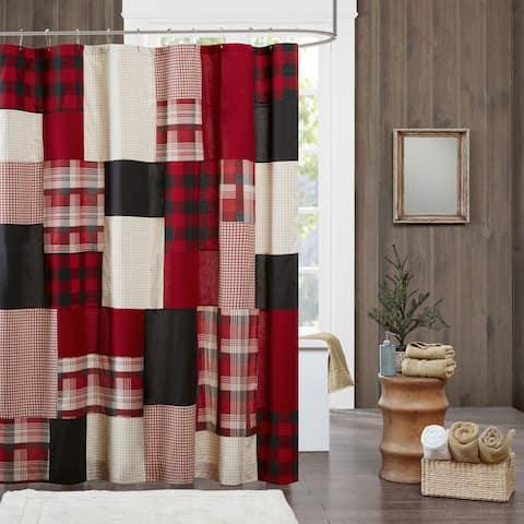 Woolrich Sunset Red Cotton Shower Curtain