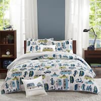 INK+IVY Kids Road Trip Multi Cotton 4-piece Coverlet Set