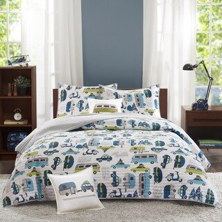 INK+IVY Kids Road Trip Multi Cotton 4-piece Coverlet Set (2 options available)