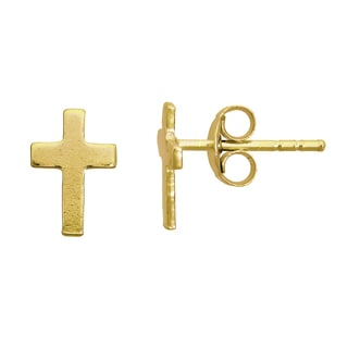 14k Yellow Gold Classic Cross Stud Earrings