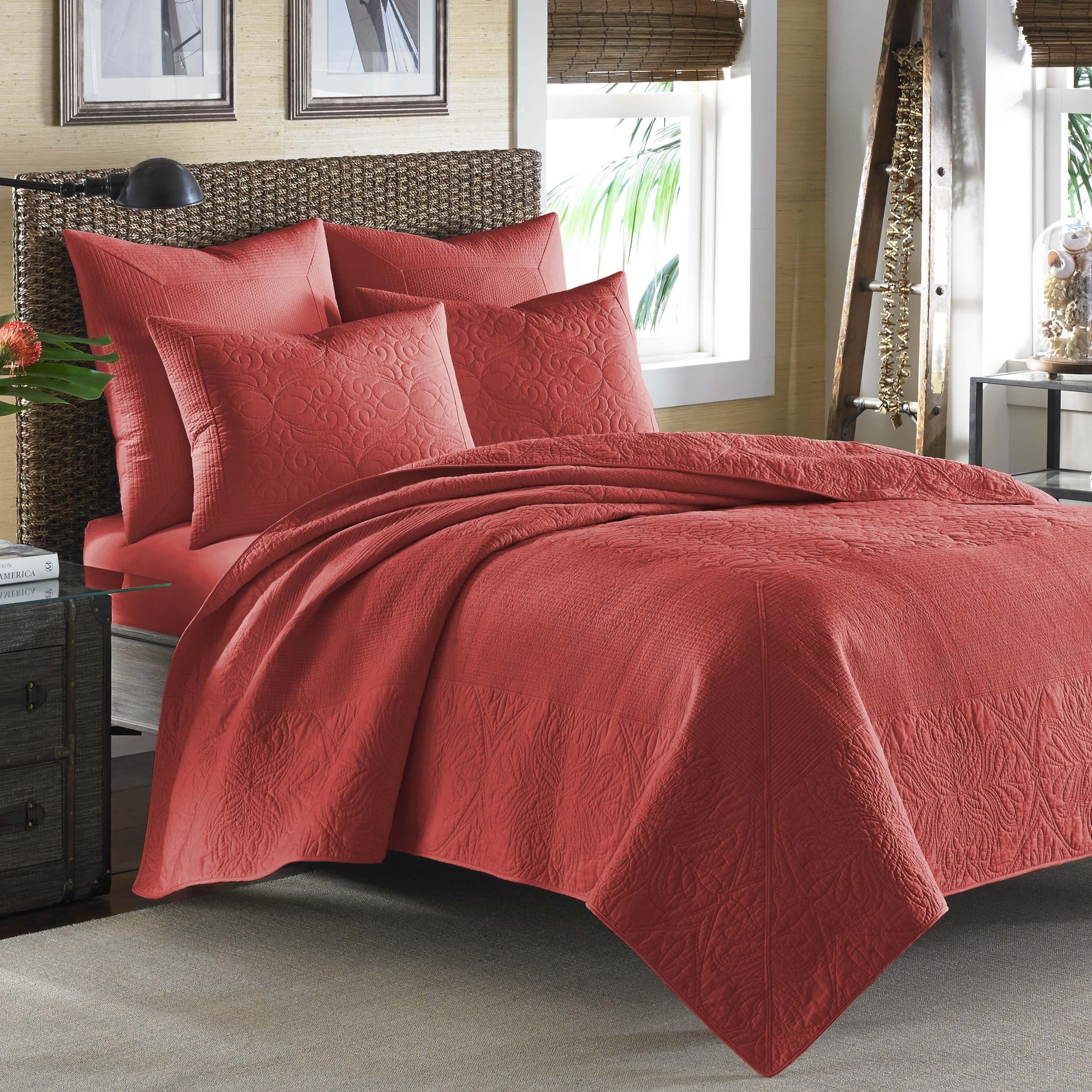 Tommy Bahama Nassau Spice Red Cotton Coverlet (Full/Queen)