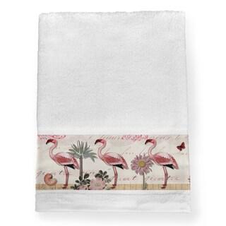 Laural Home Pink Cotton Tropical Flamingo Bath Towel