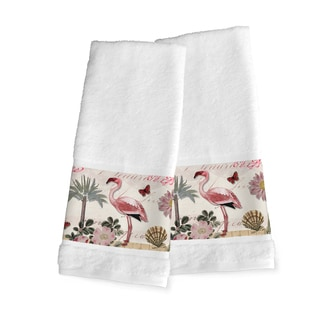Laural Home Pink Cotton Tropical Flamingo Hand Towel (Set of 2)