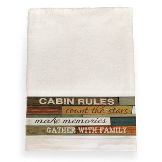 Laural Home Cabin Rules Brown Cotton Bath Towel