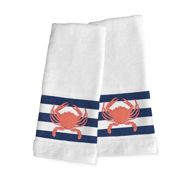 Laural Home Crab Trio White/Blue Cotton Hand Towel (Set of 2)