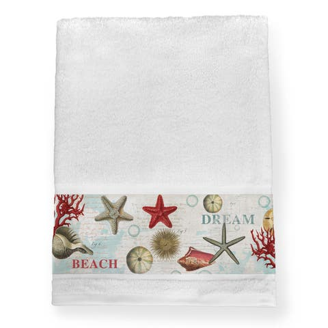 Laural Home Dream Beach Shells Collage Blue/Red Cotton Bath Towel