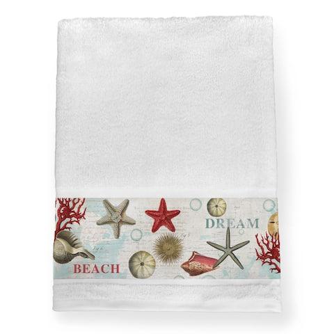 Laural Home Dream Beach Shells Collage Blue/Red Cotton Bath Towel