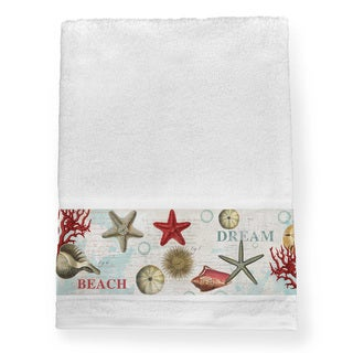 Link to Laural Home Dream Beach Shells Collage Blue/Red Cotton Bath Towel Similar Items in Towels