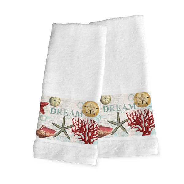 Laural Home Dream Beach Shells Collage Cotton Hand Towel