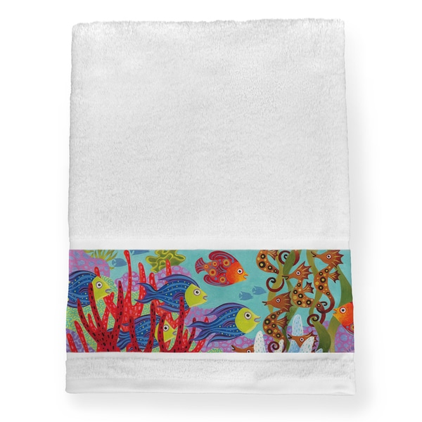 Laural Home Multicolored Cotton Colorful Fish Bath Towel