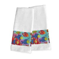 Laural Home Multicolored Cotton Fish-themed Hand Towels (Set of 2)