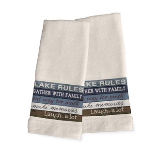 Laural Home 'Rules of the Lake' Multicolored Cotton Hand Towel (Set of 2)