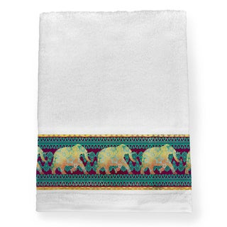 Laural Home Multicolored Cotton Moroccan Elephants Bath Towel