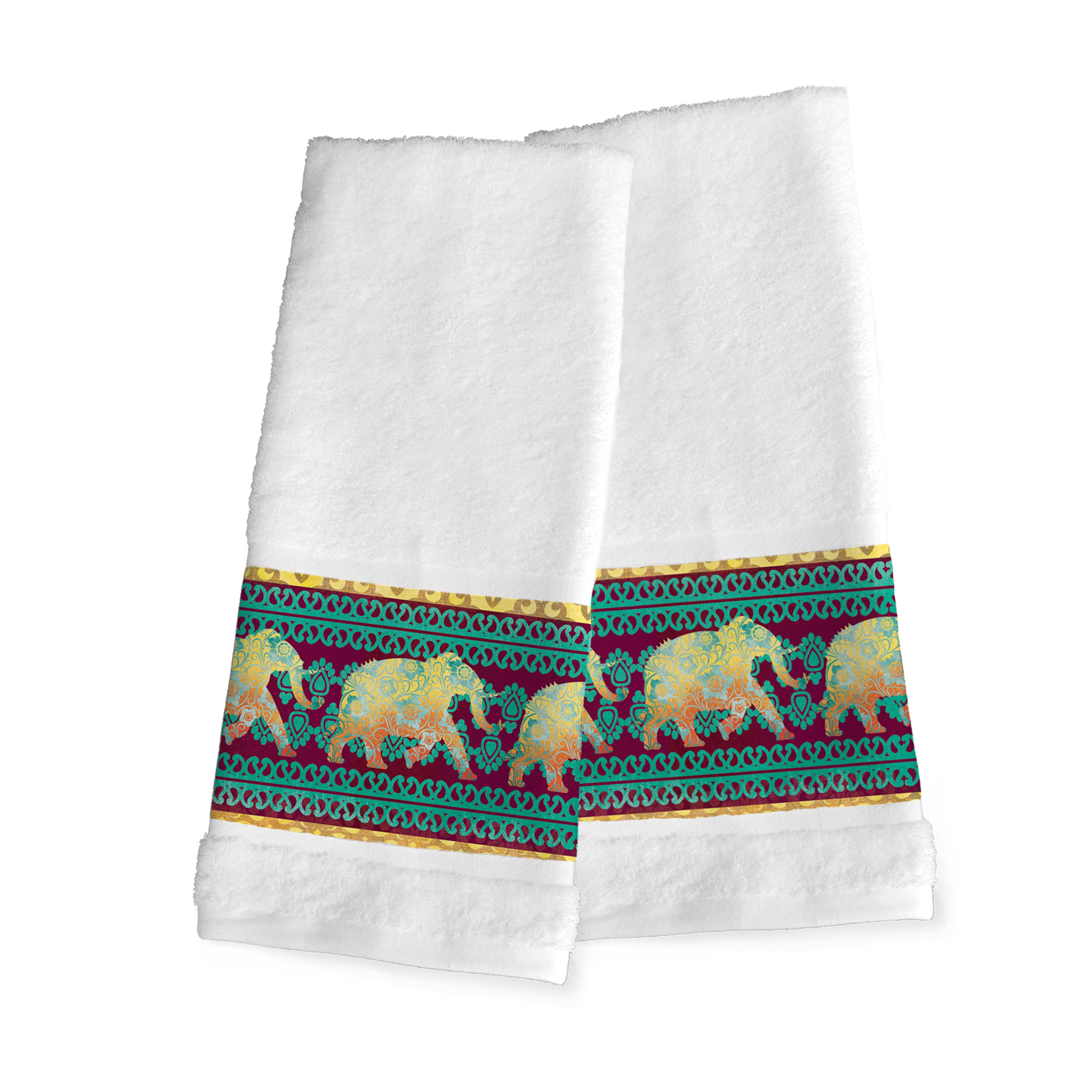 Laural Home Moroccan Elephants Hand Towel (Set of 2 Hand ...