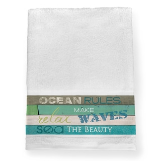 Laural Home Rules of the Ocean Blue/Green Cotton Bath Towel