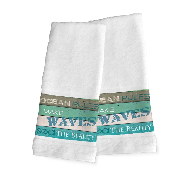 Laural Home Blue/Green Cotton 'Rules of the Ocean' Hand Towel (Set of 2)