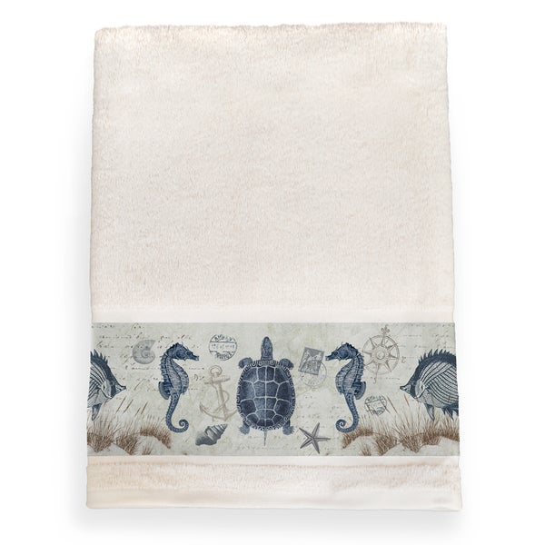 Laural Home Vintage Seaside Maritime Cotton Bath Towel