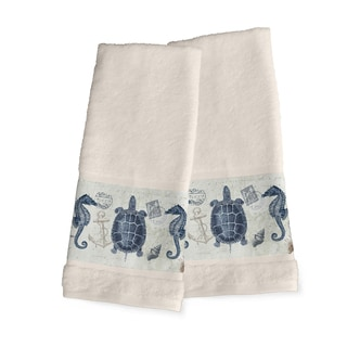 Laural Home Vintage Seaside Maritime Blue and Green Cotton Hand Towel