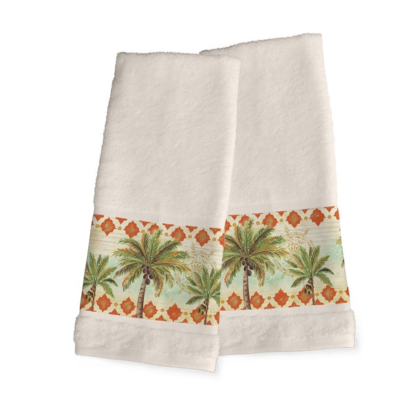 Laural Home Vintage Palm Green and Orange Cotton Hand Towels (Set of 2)