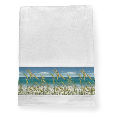 Laural Home Ocean Breeze Blue Cotton Bath Towel