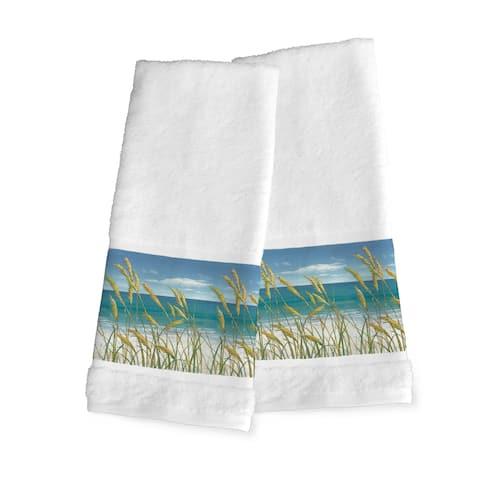Laural Home Blue Cotton Ocean Breeze Hand Towel (Set of 2)