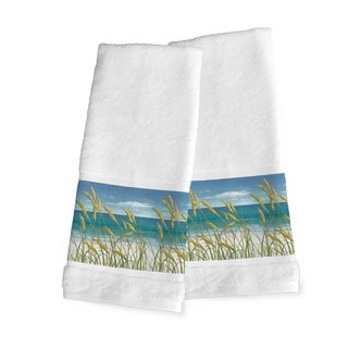 Laural Home Blue Cotton Ocean Breeze Hand Towel (Set of 2)