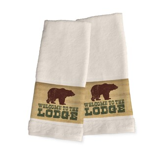 Laural Home Lodge Words Green and Brown Cotton Hand Towel
